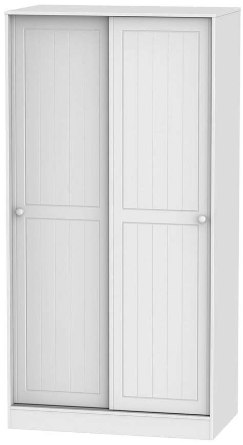 Wide White Wardrobe by Buy Warwick White 2 Door Wide Sliding Wardrobe Cfs Uk