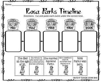 rosa parks timeline cut and paste freebie i am pleased to