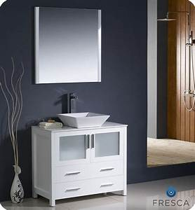 Fresca torino 36quot white modern bathroom vanity vessel sink for White vanity cabinets for bathrooms