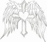 Wings Coloring Angel Cross Crosses Hearts Drawing Cool Pencil Drawings Fire Wing Heart Dragon Printable Getdrawings Bird Getcolorings Versace Vector sketch template
