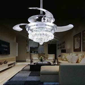 Crystal fan lights v invisible ceiling fans modern