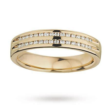 ladies double row diamond set wedding ring in 9 carat