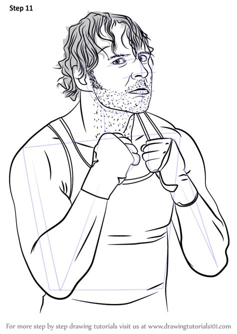 learn   draw dean ambrose wrestlers step  step drawing tutorials