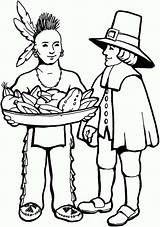 Native Coloring American Pages Thanksgiving Pilgrim Indian Pilgrims Americans Indians Clipart Cartoon Skin Cliparts Praying Clip Printable Drawing Sheet Library sketch template
