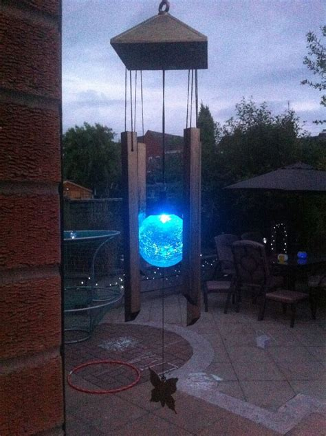 solar powered windchime colour changing light for garden