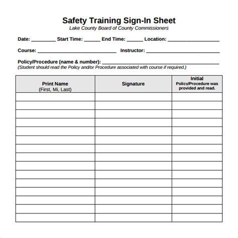 sample training sign  sheet templates  google
