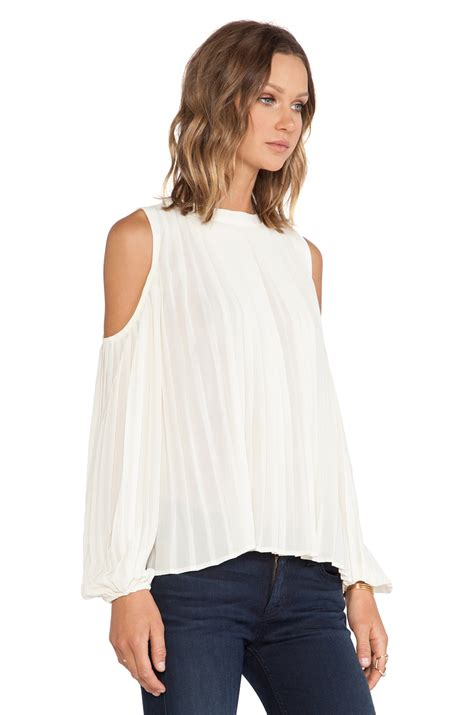 cold shoulder blouses blaque label cold shoulder top in white lyst
