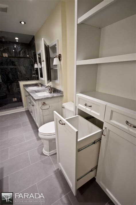 Custom Laundry basket pull out.   Bathroom Design Ideas