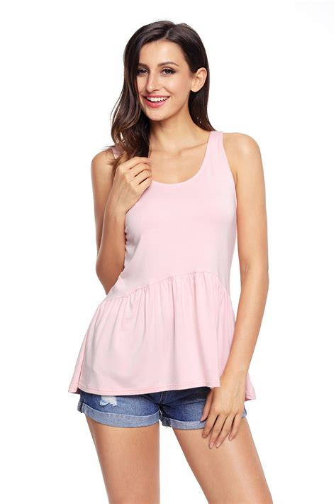 light pink tank top cute pleated hemline light pink tank top online