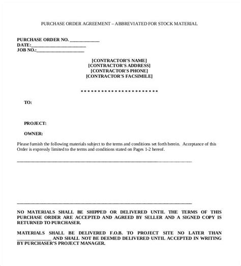 terms  conditions  purchase order template  terms