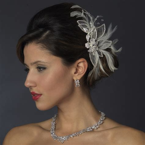 silver white feather crystal rhinestone bridal hair