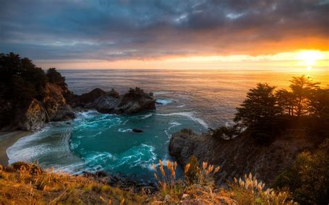 california landscape pictures sunset mcway falls california landscape hd wallpaper