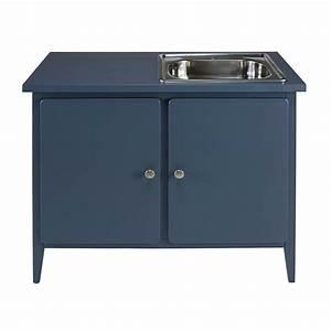 Meuble Bas 2 Portes : meuble bas de cuisine 2 portes bleu gris thelma maisons ~ Dallasstarsshop.com Idées de Décoration