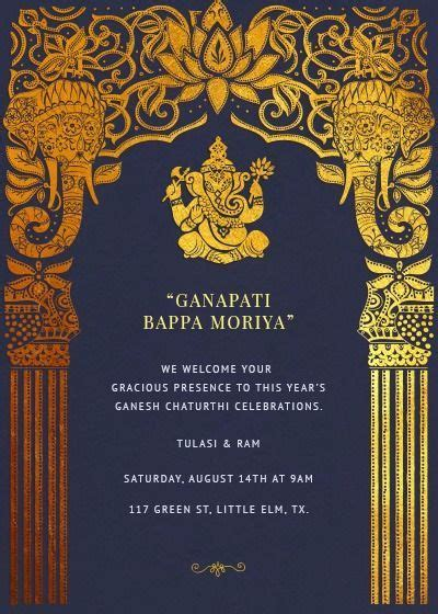 ganesh chaturthivinyaka chavithi invitation