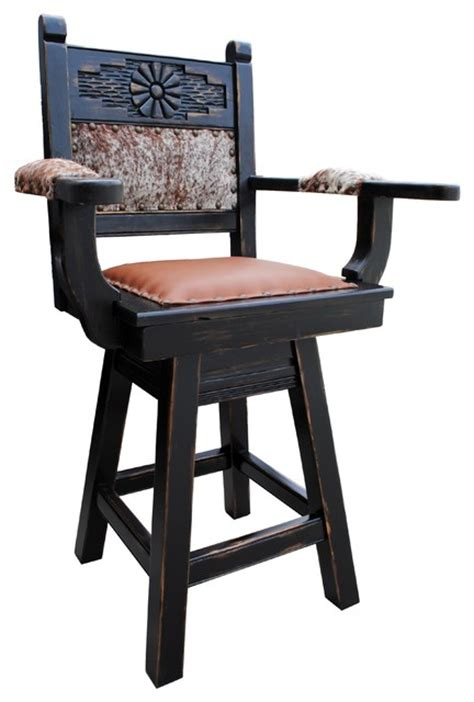Rio Grande Southwestern Swivel Bar Stool, Cowhide, 24