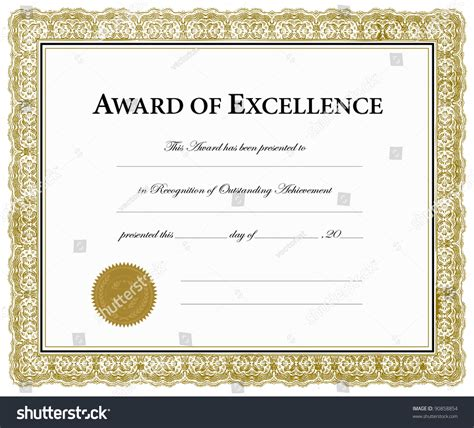 Certificate Of Excellence Template Editable by Vector Award Excellence Certificate Pieces Separate Stock