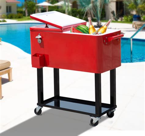 outdoor patio 80quart portable rolling cooler cart