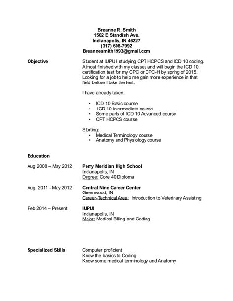 resume objective coder icd 10 coder resume