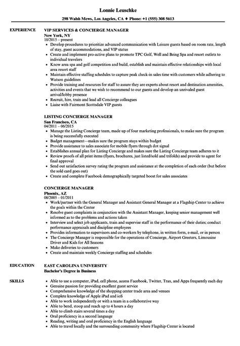 Concierge Resume Sle by Concierge Manager Resume Sles Velvet
