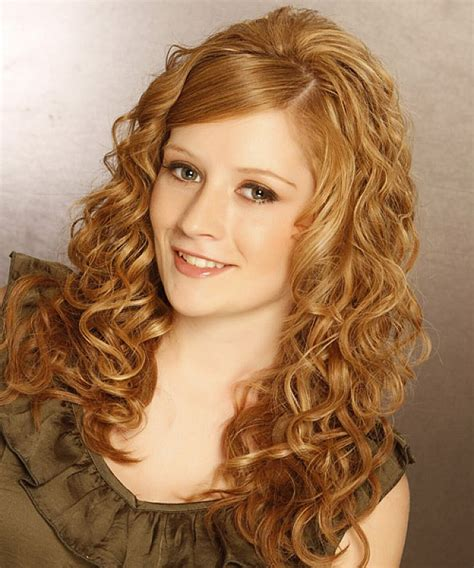 Natural curly hairstyles for long hair with side bangs