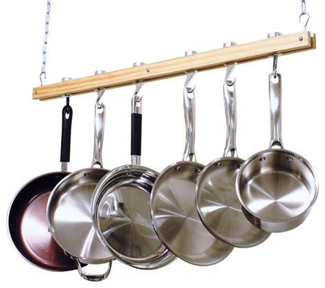 hanging pot racks for kitchen cooks standard ceiling mount wooden pot rack single bar nc 00269 contemporary pot racks