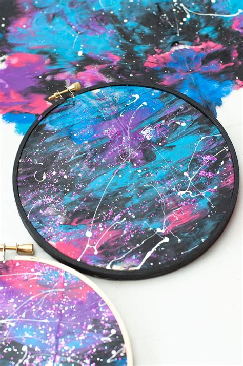 diy galaxy painting tutorial embroidery hoop art  kids