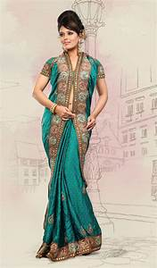indian saree | Teal Blue Satin Designer Indian Wedding ...