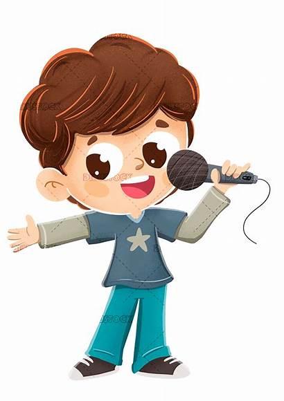 Singing Microphone Boy Child Making Clipart Het