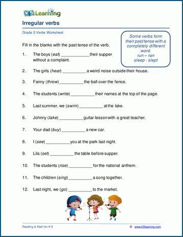 irregular verbs worksheets  grade   learning