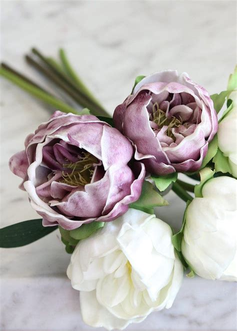 real touch peony wedding bouquet  white lavender