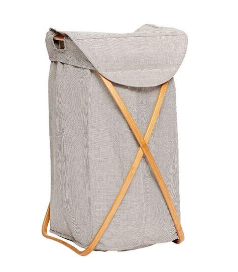 panier a linge gris panier 224 linge tissu gris et structure en bambou