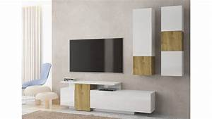 Meuble Design Tv Mural : meuble tv mural design ch ne alexia blanc brillant avec une touche de finition ch ne ~ Teatrodelosmanantiales.com Idées de Décoration