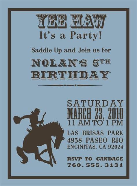 ideas  cowboy party invitations  pinterest