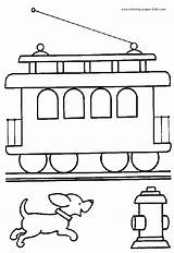 Coloring Pages Printable Transportation Trains Train Tram Sheets Found sketch template