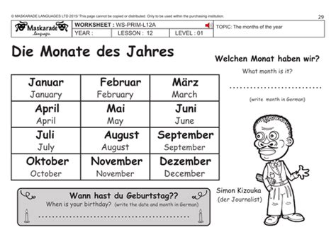german ks2 level 1 months of the year by