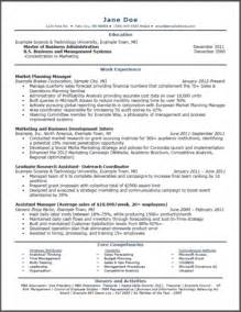 Experience Resume In Marketing by Sle Resume For Mba Marketing Experience Gallery