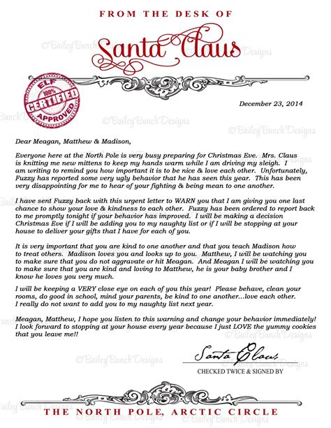 personalized letter  santa letter bailey bunch