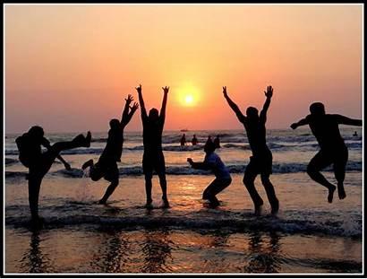 Friends Beach Enjoying Sunset Friend Silhouette 1210