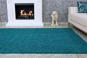 Teppich Rund Türkis : langflor teppich t rkis uni hochflor versch gr en ~ Frokenaadalensverden.com Haus und Dekorationen