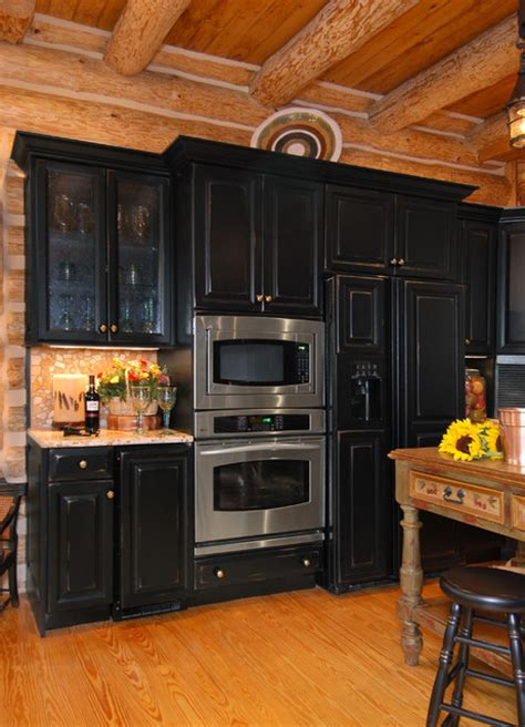 Kitchen Cabinet Decorating Ideas - rustic log cabin kitchen