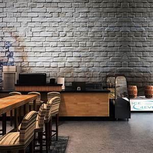 Custom Size Photo 3D Retro Gray Brick Wall Pattern