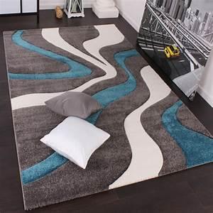 Teppich Grau Modern : designer teppich mit konturenschnitt modern grau t rkis weiss wohn und schlafbereich designer ~ Whattoseeinmadrid.com Haus und Dekorationen