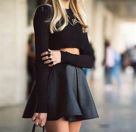 Club L   Club L Leather Look Skater Skirt at ASOS
