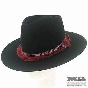 fedora hat rabbit hair felt black flat wing and ribbon