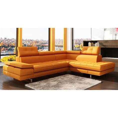 canapé orange canapé d 39 angle capitonné orange têtières relevab achat