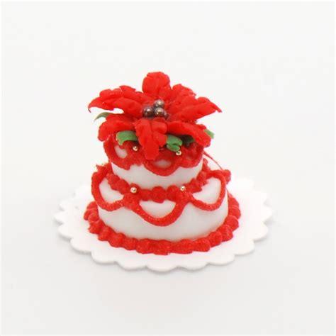 Artwork Home Decor by 2 Tier Poinsettia Christmas Cake Stewart Dollhouse Creations