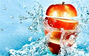 Food apples fruit water splash drops stop motion ...