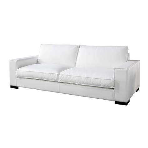 canapé fixe 4 places canapé 3 4 places fixe cuir blanc munich maisons du monde
