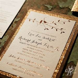erin rich39s rustic glam rose gold foil and glitter With rose gold themed wedding invitations