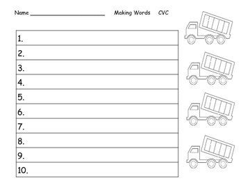 word work truck theme  images cvc words making